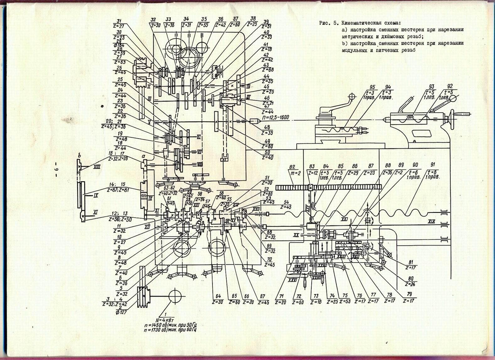 Кинематическая схема 1М61 токарно-винторезного станка.
