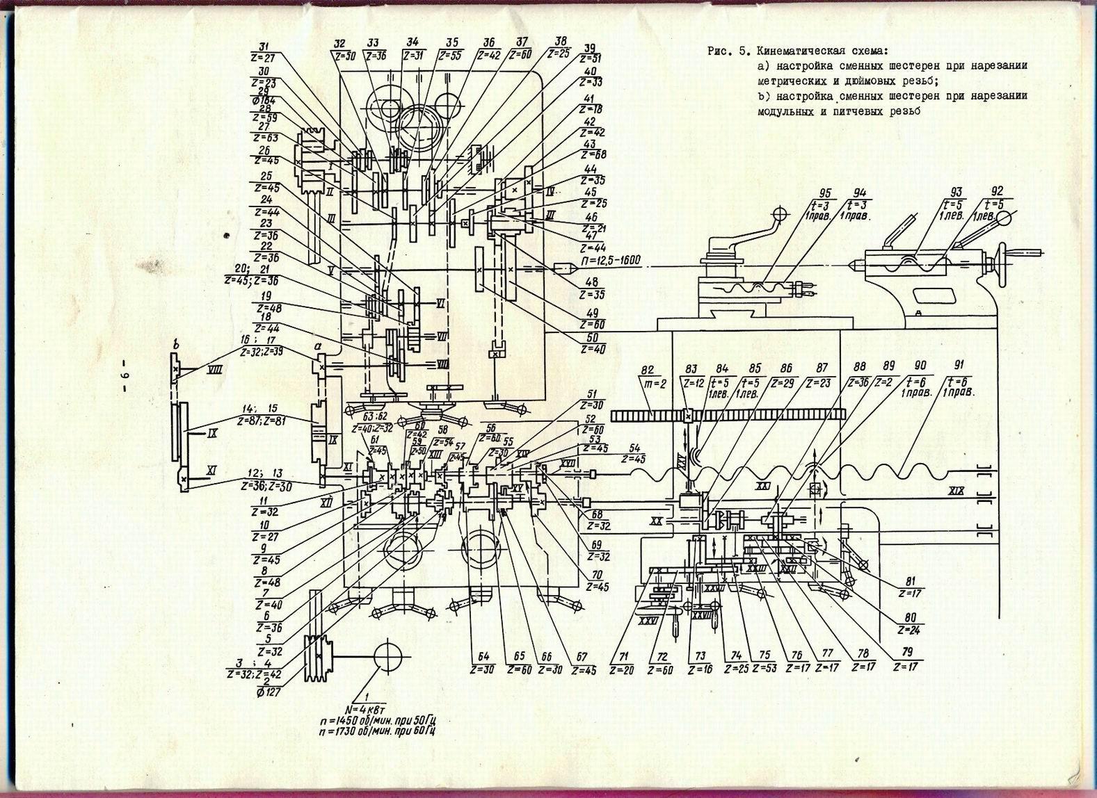 Токарный станок дип 300 кинематическая схема